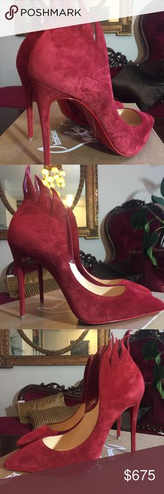 """39 """"Victorian"""" pumps 100mm These are dark red suede pointed comes with flame laser cut he'll counter. They have 100 mm heal and retail for $845 and are from the current collection! Try it on, never worn. Euro size 39 fits like US size 8. Christian Louboutin Shoes Heels"""