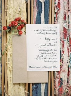 Stunning invitations #calligraphy #paper #invitations  Read more - http://www.stylemepretty.com/living/2013/08/09/1950s-style-picnic-from-anne-robert/