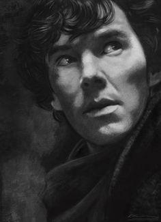 Sherlock by JazzySatinDoll. Benedict Cumberbatch Smaug, Benedict Cumberbatch Sherlock, Khan Benedict, Sherlock Holmes Bbc, Sherlock John, Martin Freeman, Film, Sketches, Art Prints