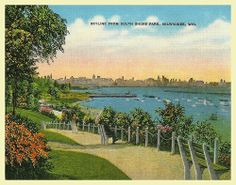 """Reproduction postcard from a vintage South Shore Park, Milwaukee, Wisconsin postcard.  Circa: 1940. 6""""x4""""  All products are professionally printed in the USA"""