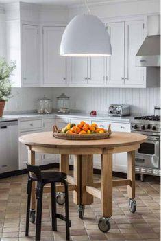In Good Taste: Timothy Brown Studio - Design Chic Portable Island! Round Kitchen Island, Kitchen Island Furniture, Kitchen Islands, Kitchen Cabinets, Gold Kitchen, Kitchen Dining, Kitchen Decor, Kitchen Cart, Cottage Kitchens