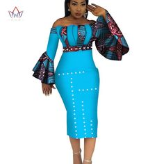 Image of 2018 Summer Dashiki Party Hot Vestidos for Women Cotton Print Traditional African Clothing nature dress Mid-Calf African Fashion Designers, Latest African Fashion Dresses, African Dresses For Women, African Attire, African Wear, African Clothes, Xhosa Attire, African Style, African Beauty