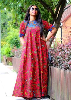 """Vibrant Red Ankara print maxi dress custom made with 100% cotton Ankara fabric. Designed to give elegance and style fitting loosely to the body. It measures 60"""" to an 6"""" tall person. Fit and Style Product Shape: Maxi Dress Length: 60"""" Fit: Loose fit Style: Short sleeves (Spagetti Strap) No added Stretch Pocket: Yes Inner Lining: No Care Instructions Recommended for Hand washing and Dry clean only."""