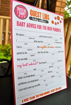 Mad Libs Baby Shower