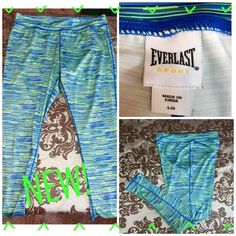 """NEW! EVERLAST GORGEOUS SUPER SKINNY ATHLETIC PANTS These are amazing! Super bright blue & green colored athletic pants-90% poly & 10% spandex. The inseam is 28"""" & they measure 5"""" across at the ankles. Also has a gusset to prevent the wicked camel toe! Brand new never been worn! Everlast Pants Skinny"""