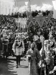 Tsar Nicholas II's coronation in Moscow in 1896 with Mannerheim, Chevalier Guard dressed in a special ceremonial uniform with bared saber before the Emperor's canopy.