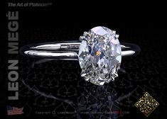 Princessa solitaire featuring an oval diamond by Leon Mege.