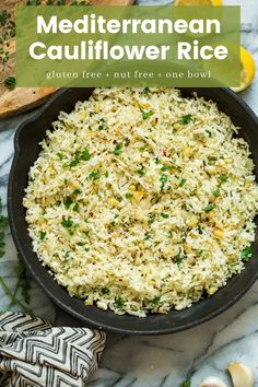 Low carb  paleo friendlyMediterranean Cauliflower Rice -make it in 20 minutes or less for a healthy  filling side dish! #Vegan + #Whole30 + #GlutenFree #cauliflowerrice #paleorecipe #lowcarb #keto #healthyrecipes #califlowerrice