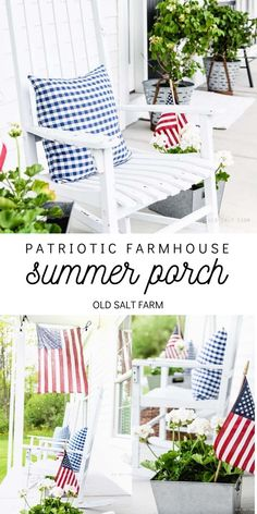 Patriotic Farmhouse Summer Porch #farmhousestyle #farmhouseporch #summerporch #patrioticporch #summerdecor #farmhousesummer #farmhousesummerporch #porchdecor #farmhouseporchdecor #patrioticdecor Farmhouse Style Decorating, Porch Decorating, Farmhouse Decor, Farmhouse Ideas, White String Lights, String Lights Outdoor, 4th Of July Celebration, Fourth Of July, Utah