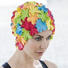 Bonnet de bain femme fantaisie à fleurs multicolore , Abysse,sport.com