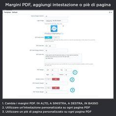 Margini PDF, aggiungi intestazione o piè di pagina, cambia i margini PDF. IN ALTO, A SINISTRA, A DESTRA, IN BASSO, utilizzare un'intestazione personalizzata su ogni pagina PDF, utilizzare un piè di pagina personalizzato su ogni pagina PDF.