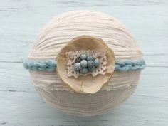 Tieback headbandBlue and cream tieback by DESERTROSECOUTURE