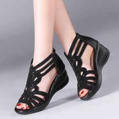 Cheap wedge sandals, Buy Quality comfortable wedge sandals directly from China leather summer shoes women Suppliers: Hollow Out Comfortable Wedged Sandals 2018 Summer Children Genuine Leather Peep Toe Cowhide Diamond Shoes Kids Pretty Shoes, Cute Shoes, Leather Sandals, Wedge Sandals, Sandals 2018, Diamond Shoes, Comfortable Wedges, Shoe Wardrobe, Peep Toe Shoes