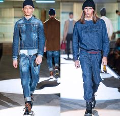 Dsquared2 2014-2015 Fall Autumn Winter Mens Runway Looks Fashion - Milano Moda Uomo Milan Fashion Week - Camera Nazionale della Moda Italiana - Straitjacket Penitentiary Prison Denim Jeans Jacket Destroyed Reverse Pockets Shirtsweater Multi-Panel Overcoat Outerwear Nautical Rollup Duffel Bag Waffle Quilted Blazer Sportcoat Trench Coat Cargo Pockets Bomber Hoodie Suit Puffer Down Jacket