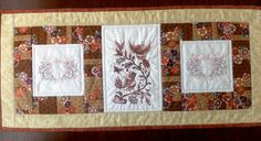 Embroidered and quilted table runner, autumn tonings, embroidered birds and hearts, table decor, patchwork table topper, floral table runner