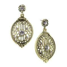 Vintage Estate Antique Brass w White Crystal Drop Earrings