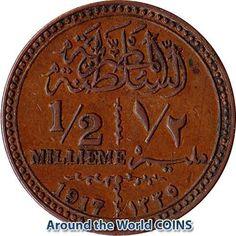 1917 (AH 1335) Egypt (British) 1/2 Millieme Coin KM#312