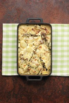 This easy parsnip and Jerusalem artichoke bake makes a a splendid veggie main course, ideal for Christmas dinner.