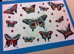 Sailor Jerry Style Butterfly Tattoo Flash by bettyrosetattoos, $15.00
