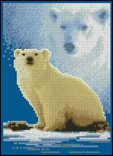 Forever Wild - Polar Bear 1 of 4 Embroidery Hoop Crafts, Embroidery Stitches Tutorial, Blackwork Embroidery, Embroidery Art, Embroidery Patterns, Beading Patterns, Cross Stitch Patterns, Bear Crafts, Beaded Cross Stitch