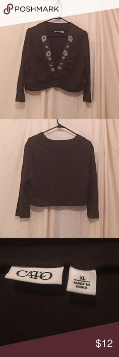 Cute long sleeve v neck top Brown with flower print top long sleeve with v neck Cato Tops Crop Tops