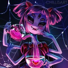 UNDERTALE, by indie developer Toby Fox, is a video game for PC, Vita, and Switch. Undertale is about a child who falls into an underworld. Muffet Undertale, Comic Undertale, Undertale Fanart, Frisk, Undertale Drawings, Disney Halloween, Fan Art, Spider Dance, Pokemon