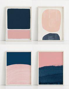 Printable Dark Blue and Pink Print. Navy Art Print. Navy