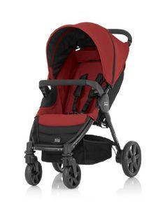 Britax B-Agile 4 - Silla de paseo con barra de seguridad, cesta y capota, color rojo