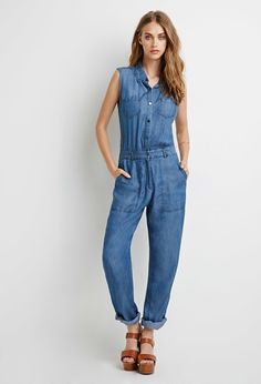 Button-Down Denim Jumpsuit | Forever 21 - 2002247903