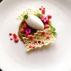Honey / goat milk / strawberry / white chocolate / sorrel #chefsplateform…