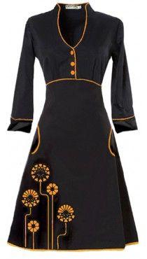 Ecouture by Lund - Yvonne - kjole i håndprintet, økologisk bomuldssatin