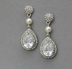 Bridal pear drop earrings, Wedding crystal  pearl earrings ,wedding jewelry , vintage wedding jewelry- Style 489. $49.00, via Etsy.