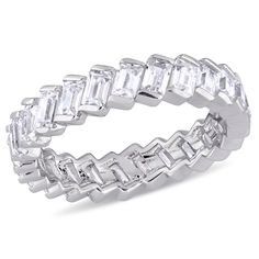 Miadora Sterling Silver Baguette-Cut Cubic Zirconia Full-Eternity Band (Size 4.5), Women's, White