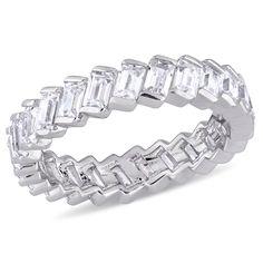 Miadora Sterling Silver Baguette-Cut Cubic Zirconia Full-Eternity Band (Size 6), Women's, White