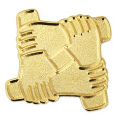 PinMart's Gold Plated Arm to Arm Teamwork Motivational Lapel Pin - CS11TIALB11 - Brooches & Pins  #jewellrix #Brooches #Pins #jewelry #fashionstyle