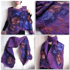 Evgeniya Bobrova- Nuno-felted scarf/wrap Purple flowers