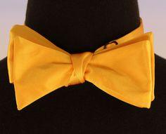 Mens Self Loop Poly Satin Bow Tie Wedding Prom Fashion Light Orange Bowtie New…
