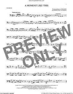 Clarkson - A Moment Like This sheet music for alto saxophone solo