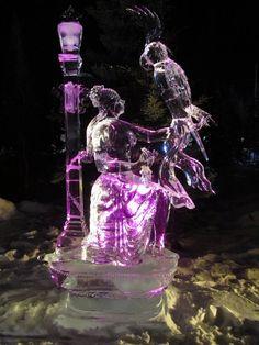 Woman with Parrot The World Ice Art Championships - Fairbanks, Alaska