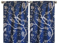 Pair of rod curtains 50'' or 25'' wide grapes Robert Allen Dwell studio Vintage Blossom floral Dove bird gray jade blue citrine yellow