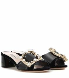 Embellished velvet and patent leather sandals | Miu Miu