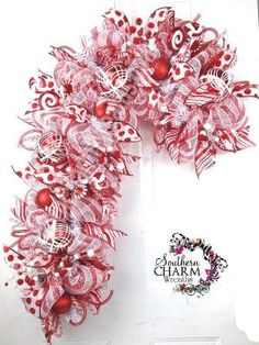 Deco Mesh CHRISTMAS Candy Cane Wreath for  Door or Wall Red White Peppermint Candy by Debra Johns-Coleman Castro