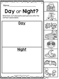 day and night free worksheet en kids pinterest free worksheets worksheets and free. Black Bedroom Furniture Sets. Home Design Ideas