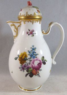 Antique Royal Vienna Porcelain Floral w Gold Trim Chocolate Pot Coffee Tea