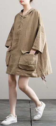 Handmade Hooded Summer Khaki Vestidos De Lino Dresses Vintage Outfits, Vintage Fashion, Hoodie Dress, Linen Dresses, African Dress, Beautiful Outfits, Long Sleeve Tops, Autumn Fashion, Street Wear