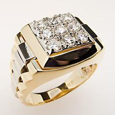 Mens Diamond Ring Two-Tone 14K Gold w/ Bold Accents - EraGem