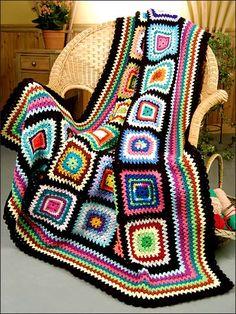Love granny square afghans! Reminds me of grandma and Amy's couch on Big Bang!