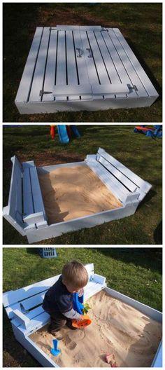 Закрывающаяся песочница своими руками. Badger Basket Covered Convertible Cedar Sandbox with Bench Seats, Natural