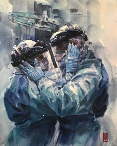 Richie Vios documents this moment in history with a series devoted to those on the front lines. Medical Wallpaper, Nurse Art, Medicine Student, Arte Obscura, Medical Art, Wow Art, Portrait Art, Watercolor Paintings, Face Paintings