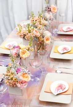 8 Dreamy Watercolor Wedding Details That Will Be Your Next Obsession - Wilkie Beautiful Table Settings, Wedding Table Settings, Place Settings, Wedding Tables, Wedding Decorations, Table Decorations, Watercolor Wedding, Watercolor Design, Deco Table